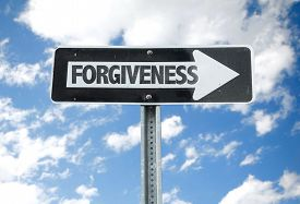 stock photo of forgiveness  - Forgiveness direction sign with sky background - JPG