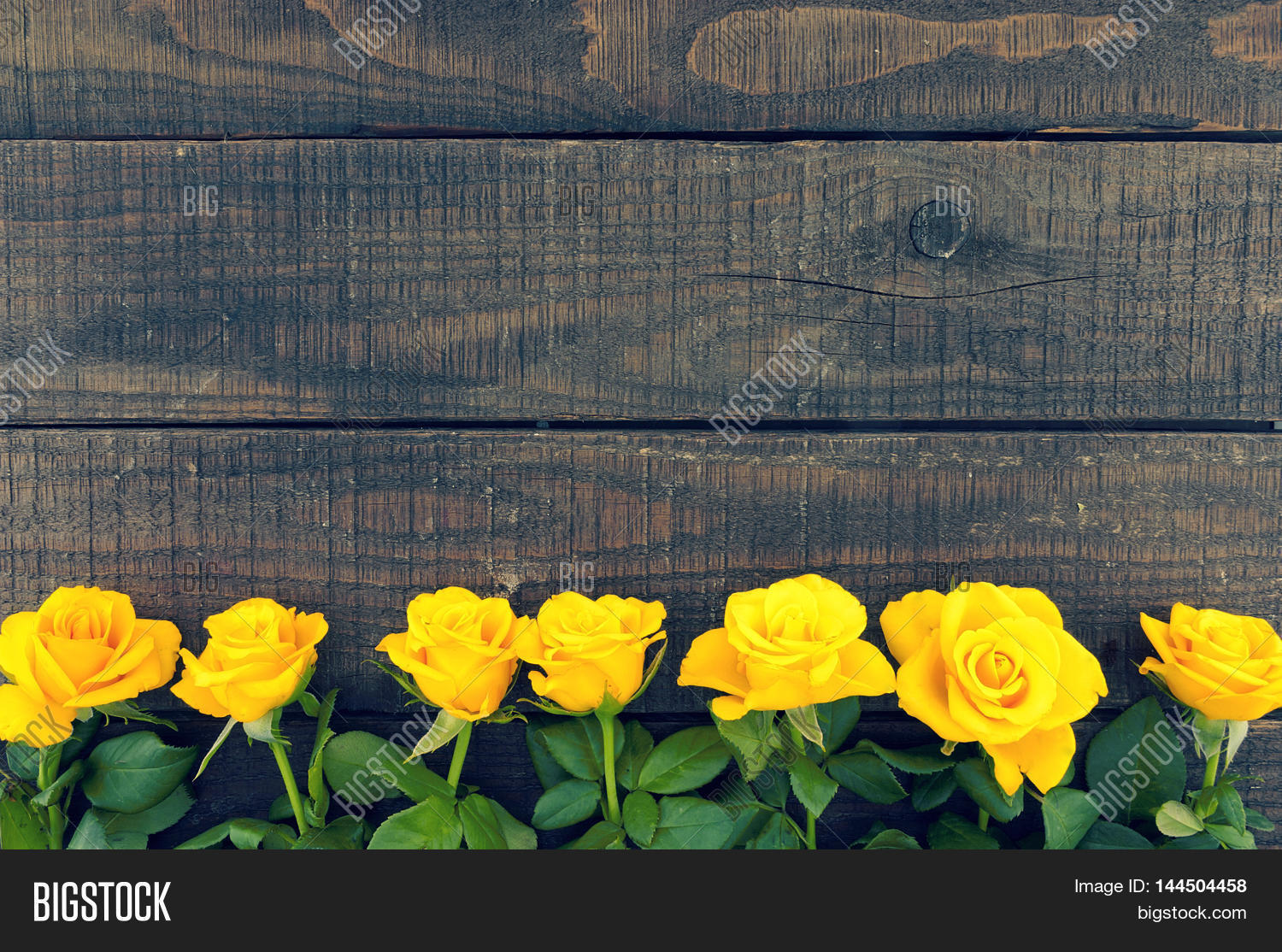 Frame of yellow roses on rustic wooden background for Table 52 valentine s day
