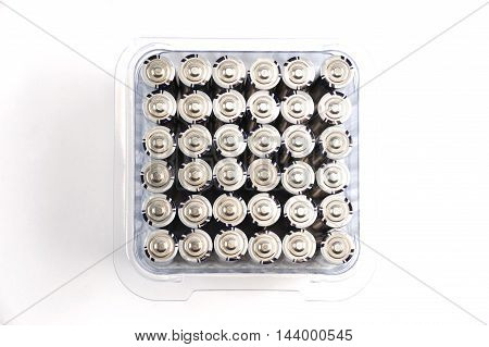 close up on batteries isolated on white background