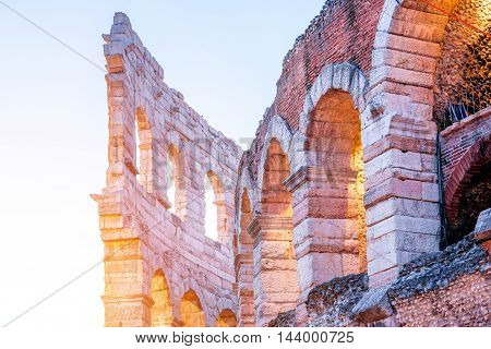 Night view on illuminated Arena in Verona city