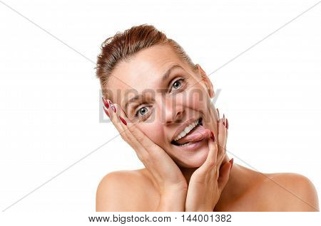 Goofy Attractive Woman Sticking Out Her Tongue