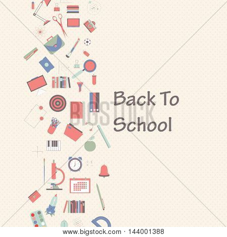 Vector banner set of school supplies are suspended on a rope back to school concept.