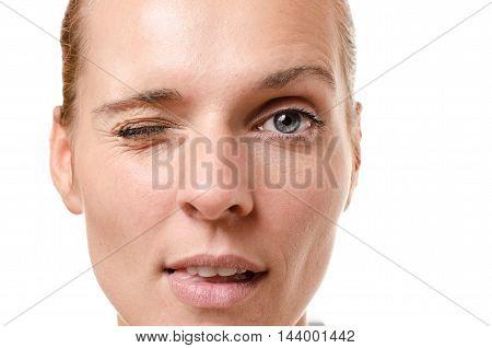 Sensual Young Woman Winking At The Camera