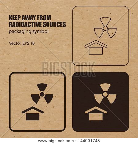 Keep away from Radioactive Sources vector packaging symbol on vector cardboard background. Handling mark on craft paper background. Can be used on a box or packaging. Vector EPS 10.