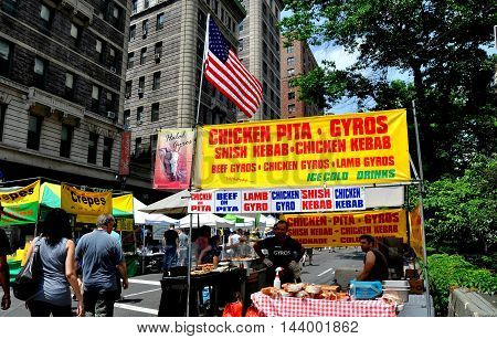 New York City - May 28 2011: Food booth selling pitas gyros and other specialties at an Upper West Side street festival on Broadway