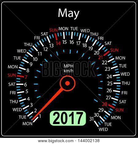 year 2017 calendar speedometer car in vector. May.