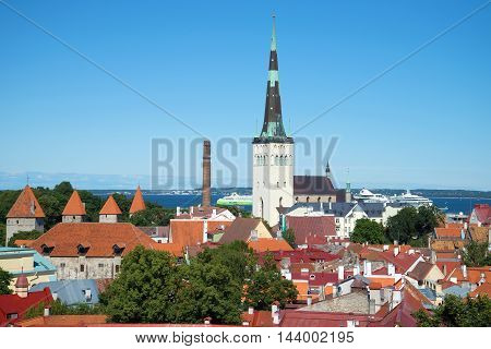 TALLINN ESTONIA - AUGUST 01 2015: Landscape of the Old town a sunny day in august. Historical landmark of the city Tallinn, Estonia