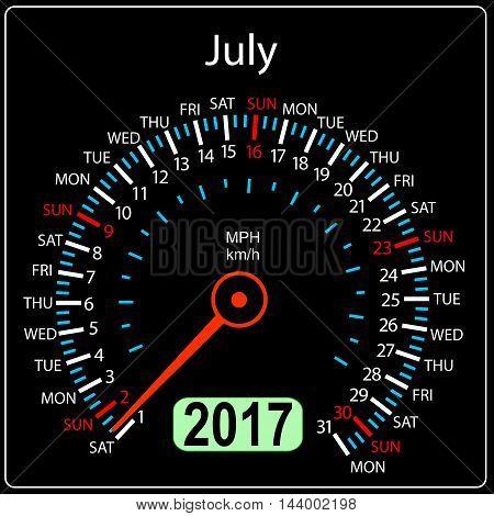 year 2017 calendar speedometer car in vector. July.