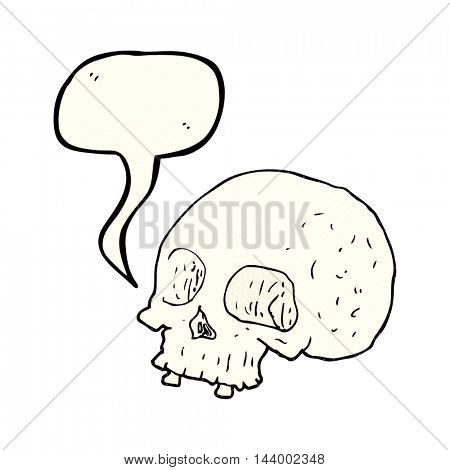 freehand drawn comic book speech bubble cartoon old skull