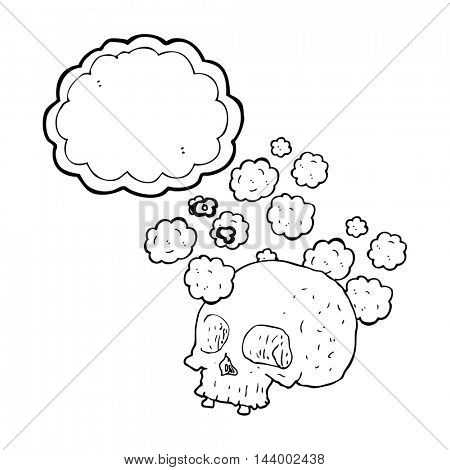 freehand drawn thought bubble cartoon old skull
