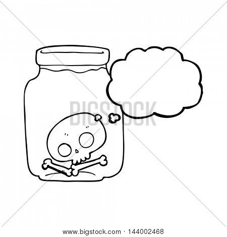 freehand drawn thought bubble cartoon jar with skull