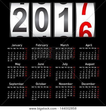 Stylish calendar for 2017. Week starts on Monday.