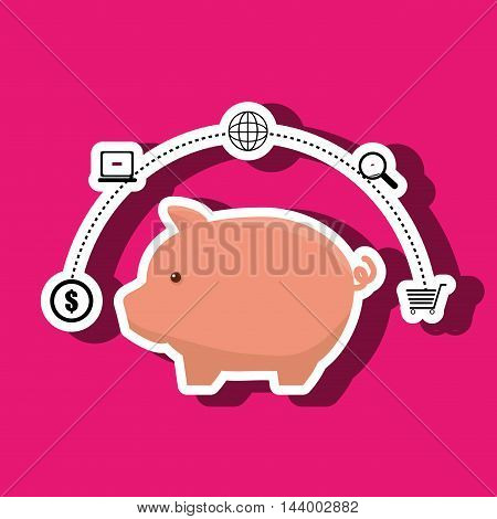 piggy buy store buy vector illustration eps 10
