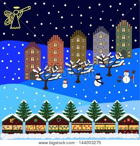 Winter city flat landscape. Christmas Fair. Colored vector illustration