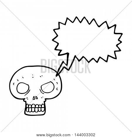 freehand drawn speech bubble cartoon skull