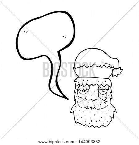 freehand drawn speech bubble cartoon tired santa claus face