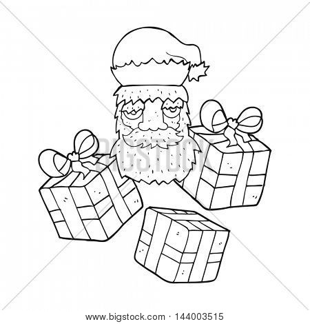 freehand drawn black and white cartoon tired santa claus face with presents