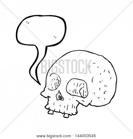 freehand drawn speech bubble cartoon old skull