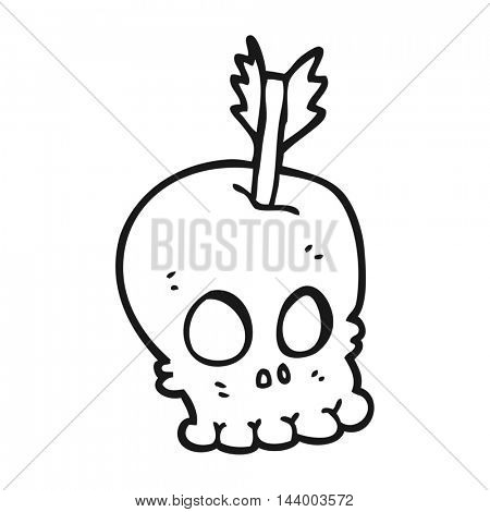 freehand drawn black and white cartoon skull with arrow