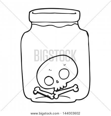 freehand drawn black and white cartoon jar with skull