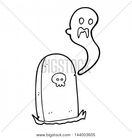 freehand drawn black and white cartoon ghost rising from grave