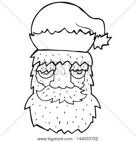 freehand drawn black and white cartoon tired santa claus face