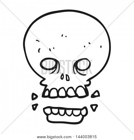 freehand drawn black and white cartoon scary skull