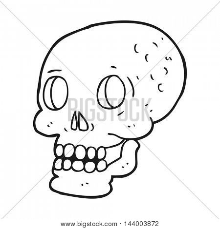 freehand drawn black and white cartoon halloween skull