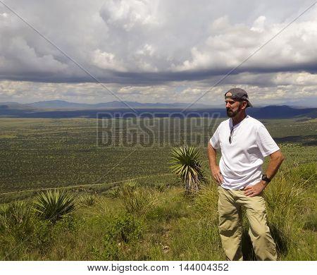 SIERRA VISTA, ARIZONA, AUGUST 21. Coronado Peak on August 21, 2016, near Sierra Vista, Arizona. A man on the trail on top of Coronado Peak in the Huachuca Mountains near Sierra Vista Arizona.