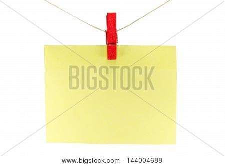 Yellow Sheet Of Paper For Notes And Paperclip