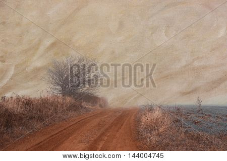 Dirt road going off into a foggy landscape.  Texture effect applied.