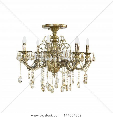 classical crystal chandelier on a white background