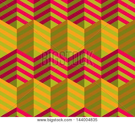 Retro Fold Striped Hexagons Touching