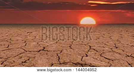 Global warming is a real threat for our civilization. Conceptual image symbolizing negative consequences of global warming leading to destroying the natural ecosystems