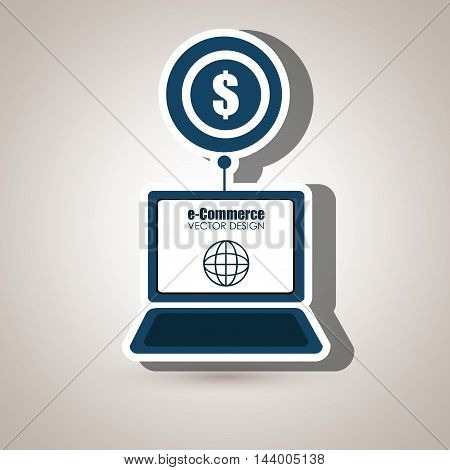 laptop shopping online buy vector illustration eps 10