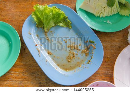 Scraps Of Food Left In Plastic Dish On Table