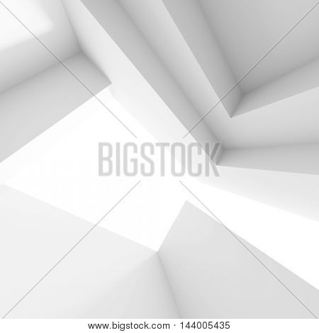 3d Illustration od White Interior Design. Empty Room with Windows. Abstract Architecture Background