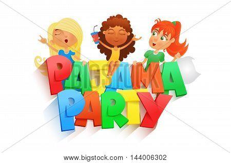 illustration of three girls having pajama party. Invintation card template. Vector illustration