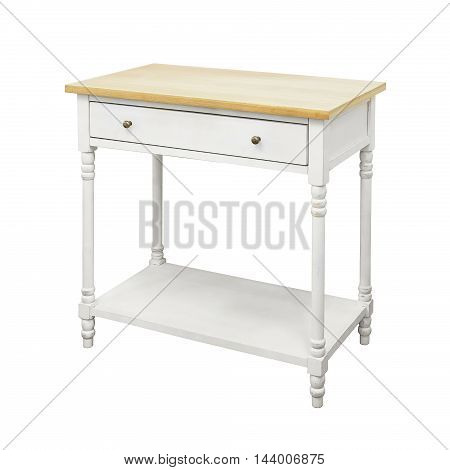 Old wood vanity table isolated on a white
