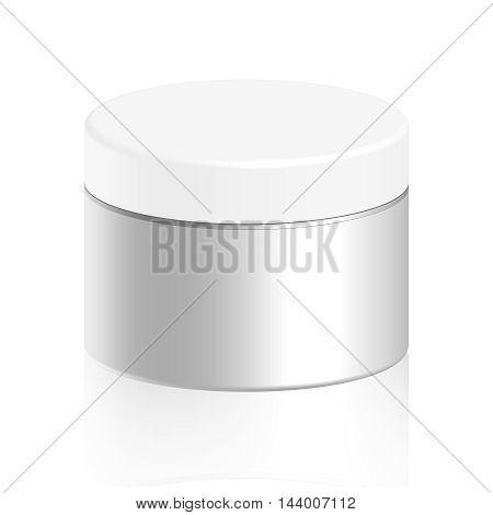 Cosmetic bottle for cream, gel, powder, white color vector illustration