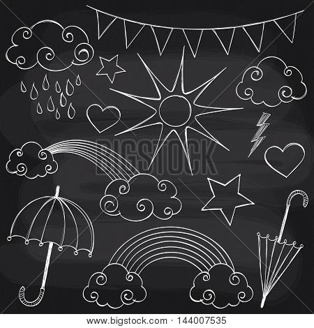 Vector doodle hand drawn weather set on chalkboard background