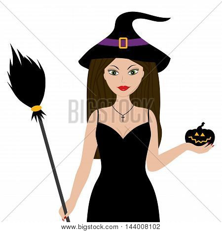 Vector halloween witch with broomstick and pumpkin
