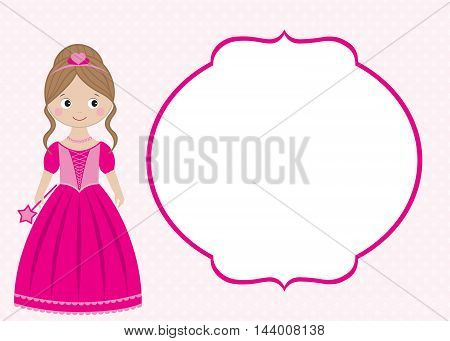 Vector pink princess card template with the frame
