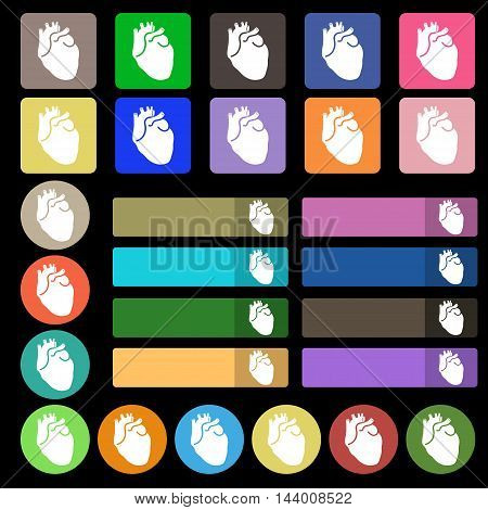 Human Heart Icon Sign. Set From Twenty Seven Multicolored Flat Buttons. Vector