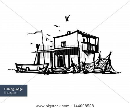 Vector Iluustration. Fishing House and a boat.