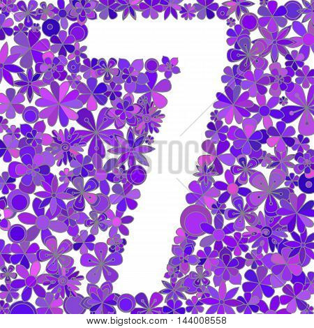 Vector number seven made of blue flowers.