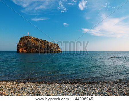 Georges rock Black sea coast cape Fiolent. Crimea
