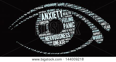 Anxiety word cloud on a black background.