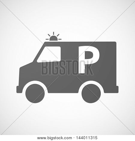 Isolated Ambulance Icon With    The Letter P