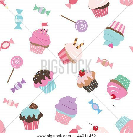 Birthday seamless pattern with sweets in pink and violet colors. Girly. For print and web.